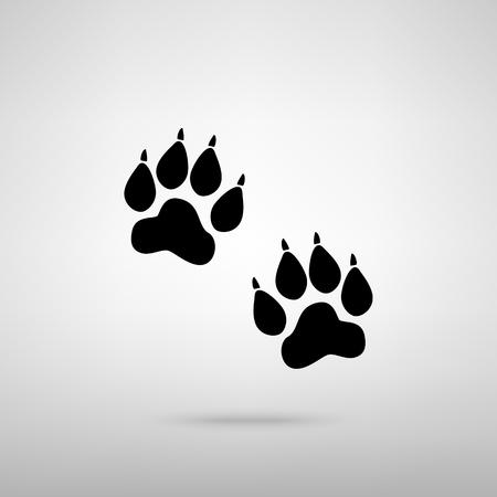 huellas de animales: Pistas animales firman. Negro con la sombra en gris.