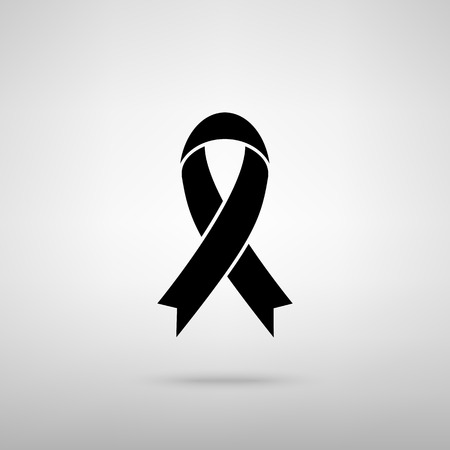 substance abuse awareness: Black awareness ribbon sign. Black with shadow on gray. Illustration