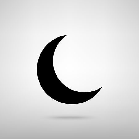 afterglow: Moon sign. Black with shadow on gray. Illustration
