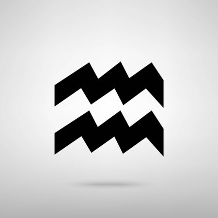 ecliptic: Aquarius sign. Black with shadow on gray.