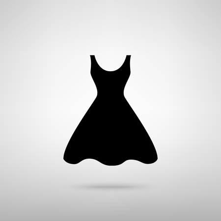 black woman: Woman dress sign. Black with shadow on gray. Illustration