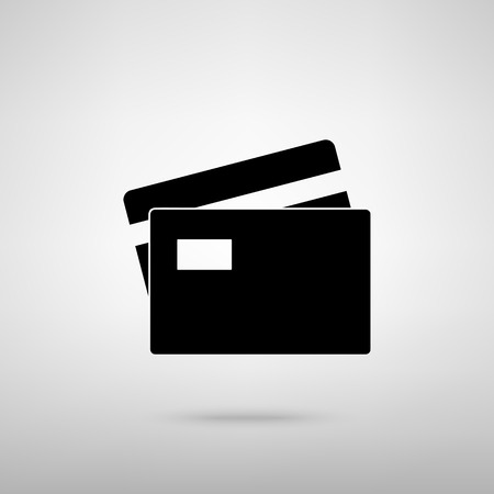 transact: Credit Card sign. Black with shadow on gray.