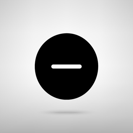 minus sign: Negative symbol. Minus sign. Black with shadow on gray.