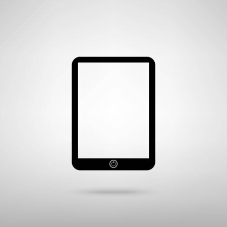 sensitive: Computer tablet sign. Black with shadow on gray. Illustration