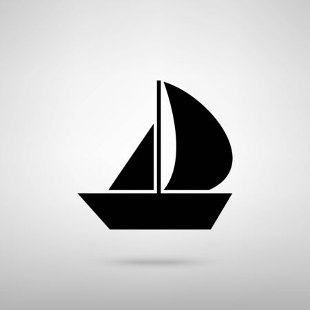 sail boat: Sail Boat sign. Black with shadow on gray.