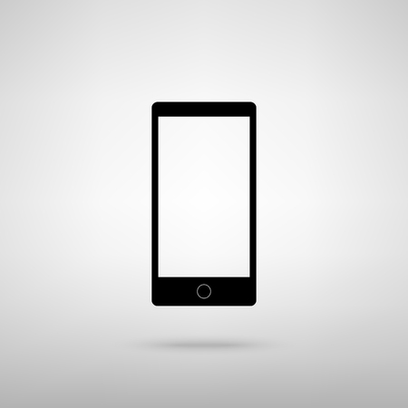 respond: Abstract style modern gadget with blank screen. Template for any content. Black with shadow on gray.