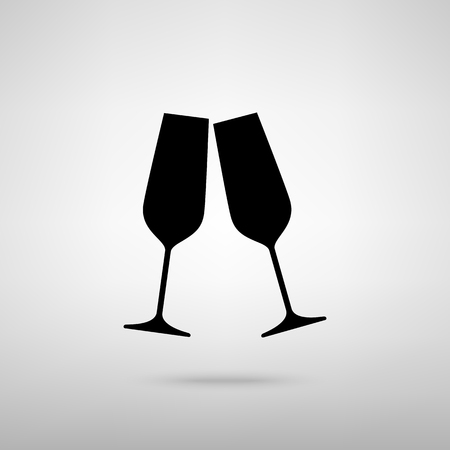 clink: Sparkling champagne glasses. Black with shadow on gray.