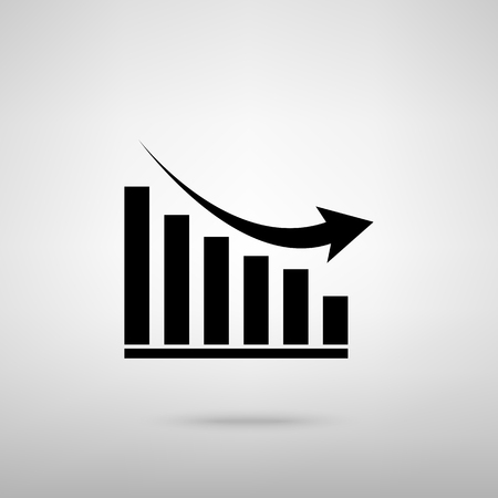 declining: Declining graph sign. Black with shadow on gray. Illustration