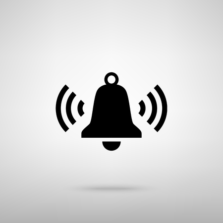 door bell: Ringing bell icon. Black with shadow on gray.