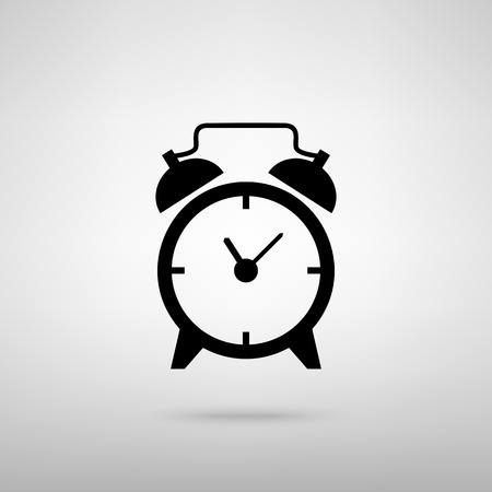 clock: Alarm clock sign. Black with shadow on gray.