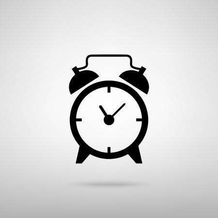 reloj despertador: señal de reloj de alarma. Negro con la sombra en gris.