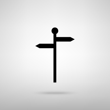 guidepost: Direction road sign. Black with shadow on gray.