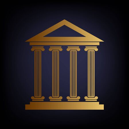 historical: Historical building. Golden style icon on dark blue background. Illustration