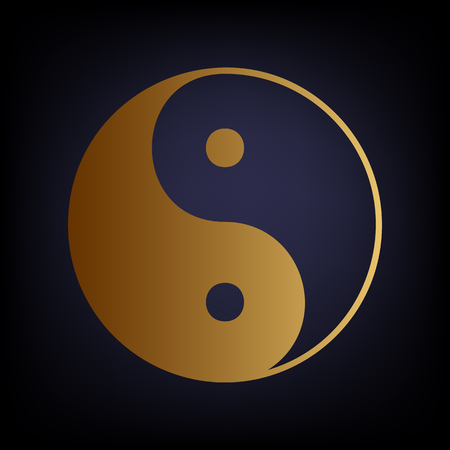 yang style: Ying yang symbol of harmony and balance. Golden style icon on dark blue background.