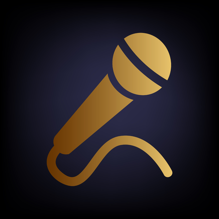 amplification: Microphone sign. Golden style icon on dark blue background. Illustration