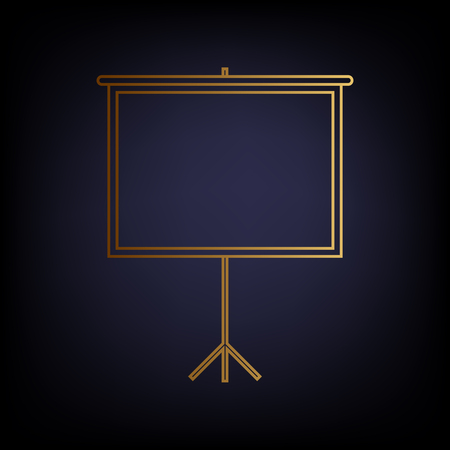 projection screen: Blank Projection screen. Golden style icon on dark blue background. Illustration