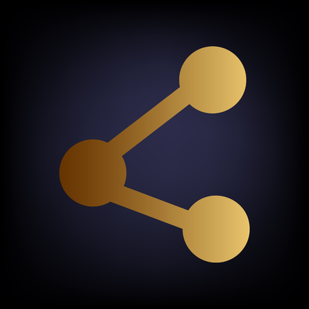 medium group of people: Share sign. Golden style icon on dark blue background.