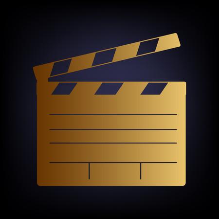 flick: Film clap board cinema sign. Golden style icon on dark blue background.