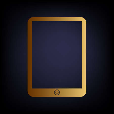 touch sensitive: Computer tablet sign. Golden style icon on dark blue background.