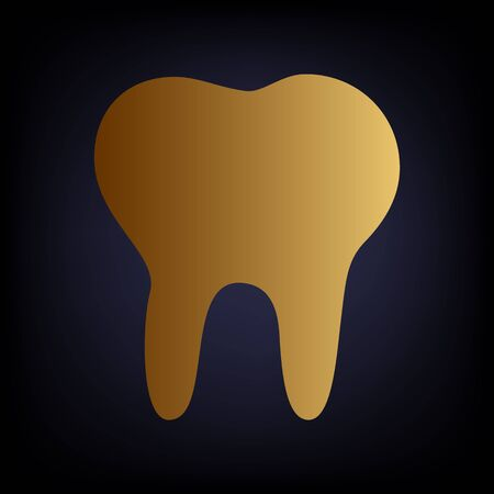 toothcare: Tooth sign. Golden style icon on dark blue background. Illustration