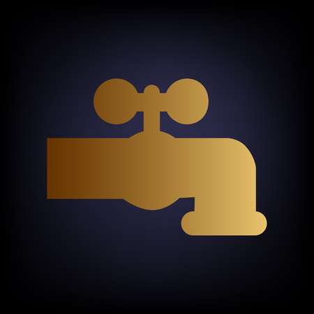 switcher: Water faucet sign. Golden style icon on dark blue background.