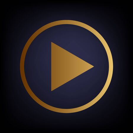 dark blue background: Play sign. Golden style icon on dark blue background.