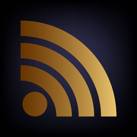 rss sign: RSS sign. Golden style icon on dark blue background. Illustration
