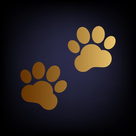huellas de animales: Animal Tracks sign. Golden style icon on dark blue background. Vectores
