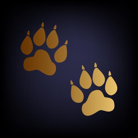 huellas de animales: Pistas animales firman. icono de estilo de oro sobre fondo azul oscuro.