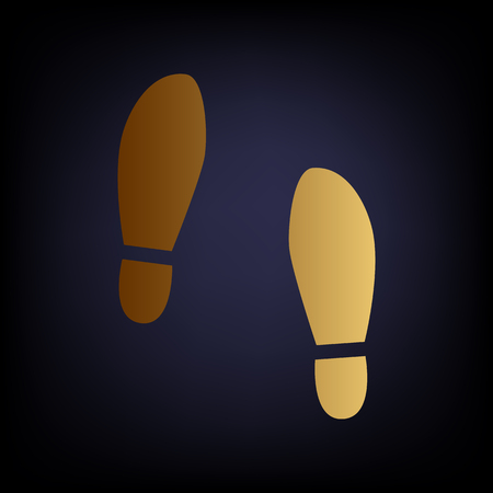 shoeprint: Imprint soles shoes sign. Golden style icon on dark blue background.