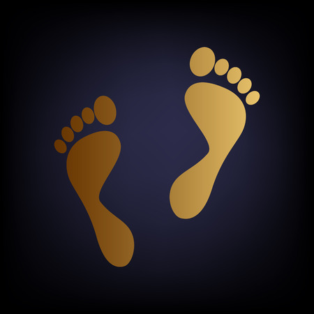 alibi: Foot prints sign. Golden style icon on dark blue background.