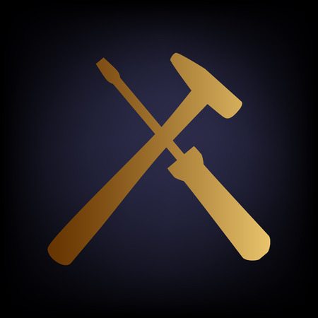 Tools sign. Golden style icon on dark blue background.