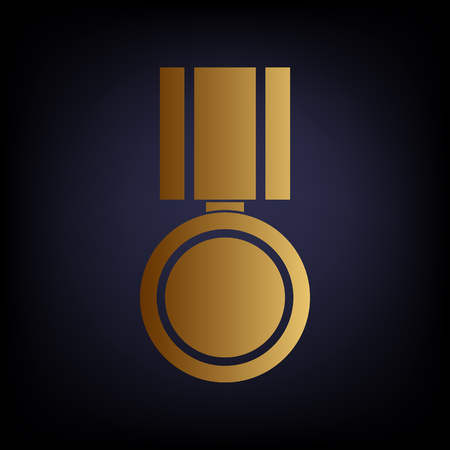 incentive: Medal sign. Golden style icon on dark blue background.