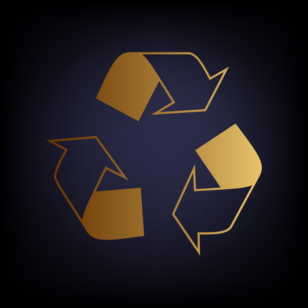 recycle logo: Recycle logo concept. Golden style icon on dark blue background.