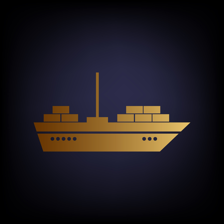 inflate boat: Ship sign. Golden style icon on dark blue background. Illustration