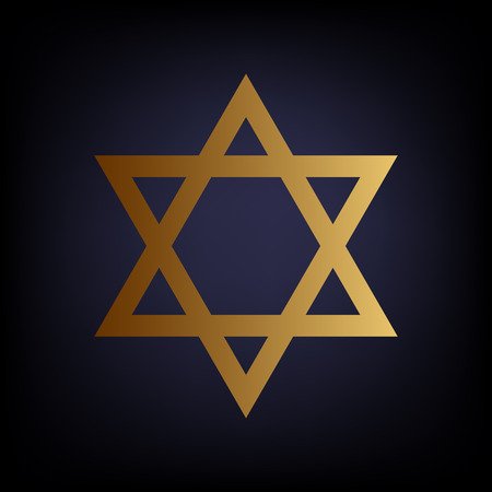 magen david: Star. Shield Magen David. Symbol of Israel. Golden style icon on dark blue background.