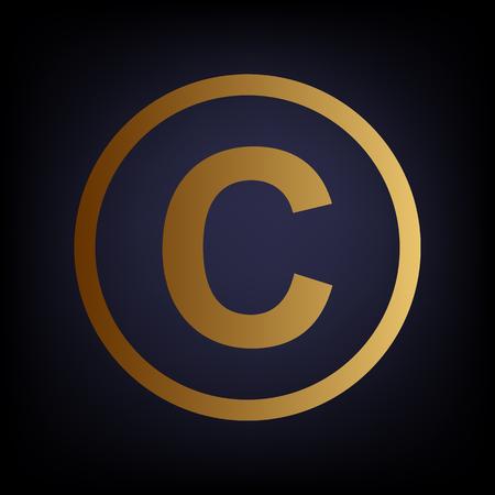 duplication: Copyright sign. Golden style icon on dark blue background. Illustration