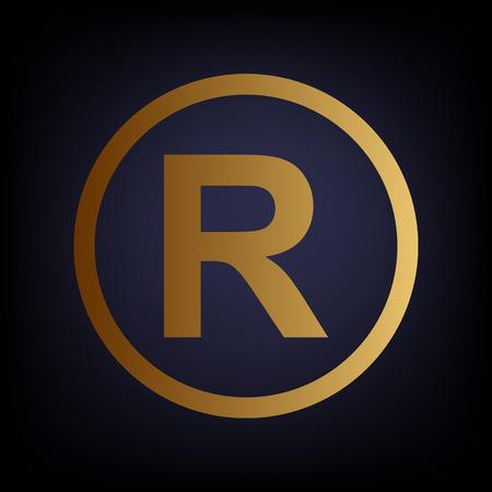 dispensation: Registered Trademark sign. Golden style icon on dark blue background.
