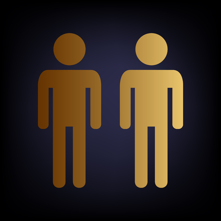 gay family: Gay family sign. Golden style icon on dark blue background.