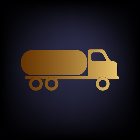 fabrication: Car transports sign. Golden style icon on dark blue background. Illustration