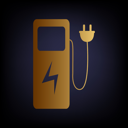 zero emission: Electric car charging station sign. Golden style icon on dark blue background. Illustration