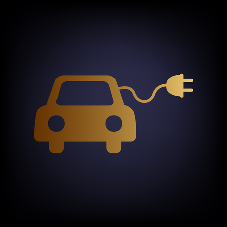 echnology: Eco electric car sign. Golden style icon on dark blue background.