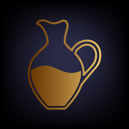 greek pottery: Amphora sign. Golden style icon on dark blue background. Illustration