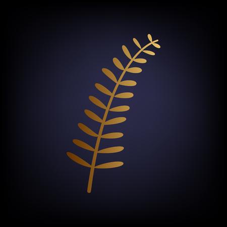 dark olive: Olive twig sign. Golden style icon on dark blue background. Illustration
