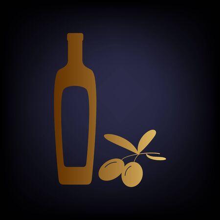 dark olive: Black olives branch with olive oil bottle sign. Golden style icon on dark blue background.