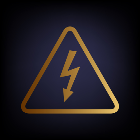 voltage danger icon: High voltage danger sign. Golden style icon on dark blue background. Illustration