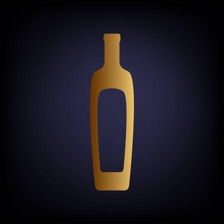 salad dressing: Olive oil bottle sign. Golden style icon on dark blue background.