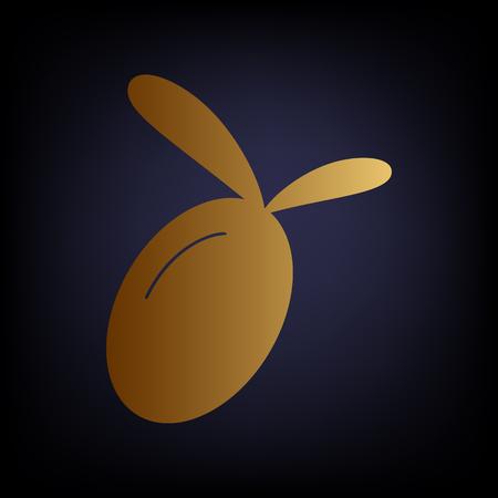 dark olive: Olive sign. Golden style icon on dark blue background. Illustration