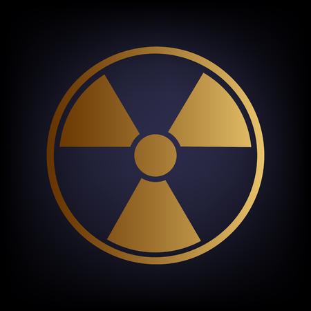 radiological: Radiation Round sign. Golden style icon on dark blue background. Illustration