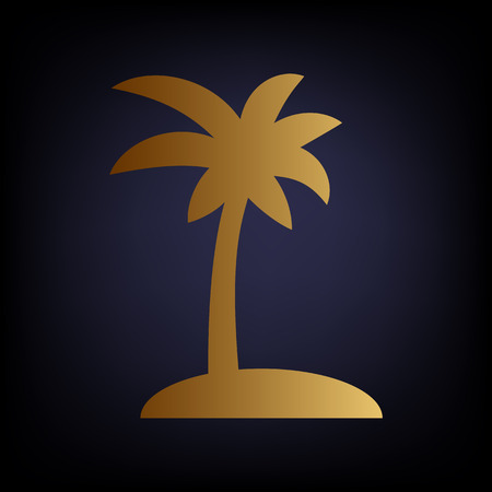 palmtrees: Coconut palm tree sign. Golden style icon on dark blue background. Illustration
